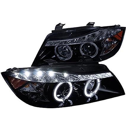 amazon com: spec-d tuning 2lhp-e9005g-8-tm bmw e90 3-series 4dr r8 led  strip drl projector headlights glossy black: automotive