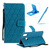 Blue Leather Case for Huawei P20 Lite,Strap Wallet Case for Huawei P20 Lite,Herzzer Bookstyle Classic Elegant Pretty Flower Design Magnetic Stand Flip Leather Case with Soft TPU
