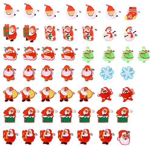 TOYMYTOY 50PCS Christmas Brooch Pins LED Brooch Kids Party Supplies Flashing Light Brooch (Style Mixed)