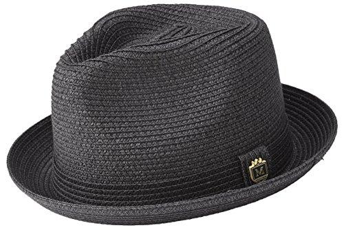 MONTIQUE Braided Toyo Short Snap Brim Teardrop Dent Pinch Hat H56 (X-Large, Black)