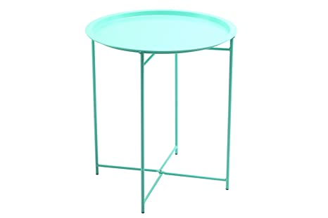 Beau Finnhomy Collapsible Metal Folding Tray Side Table, Mint Green