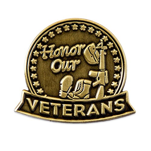PinMart's Antique Bronze Honor Our Veterans Military Lapel Pin