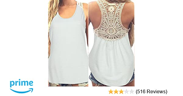 65d956b9bf Gillberry Women Summer Lace Vest Top Short Sleeve Blouse Casual Tank Top T- Shirt at Amazon Women s Clothing store