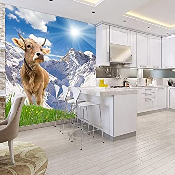 Attirant White Mountain Landscape Wall Mural Brown Cow Photo Wallpaper Kitchen Home  Decor Available In 8 Sizes