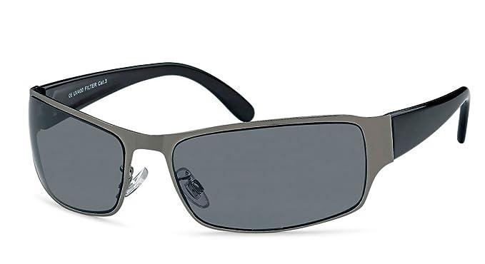 Sonnenbrille Eckig Herren Gangster Freizeit Sportlich Sonnen Brille graue Gläser Federscharnier Strand Urlaub SBS-01 Y61sJZO