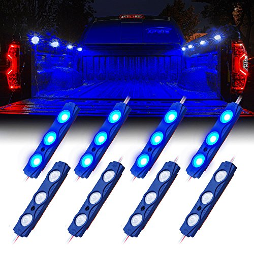 Xprite Led Rock Light for Bed Truck, 24 LEDs Cargo Truck Pickup Bed, Under Car, Foot Wells, Rail Lights, Side Marker LED Rock Lighting Kit w/Switch Blue - 8 PCs