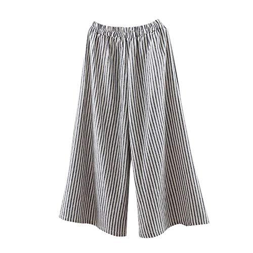 Vita Alta pantaloni YanHoo strisce pantaloni Donna Cotone delle Casual Pantaloni pi pantaloni dei dei Lunghi larghi a donne donne delle di larghi Scozzese delle A gambe Lino larghi Oversize 80dqwrR0