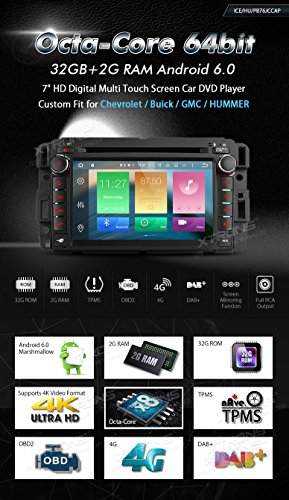 XTRONS 7 Inch Android 6.0 Octa-Core Capacitive Touch Screen Car Stereo Radio DVD Player GPS CANbus Screen Mirroring Function OBD2 Tire Pressure Monitoring for GMC Chevrolet by XTRONS (Image #1)