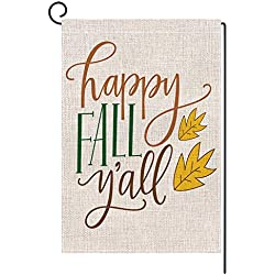 BLKWHT Happy Fall Y'all Garden Flag Double Sided 12.5 x 18 Inch Outdoors Yard Decor