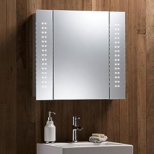 Illuminated Bathroom Mirror Cabinet With WIRE FREE Demister Shaver Socket And Sensor Switch Aluminium Frame LED Lights 60cmH X 65cmW 12cmD
