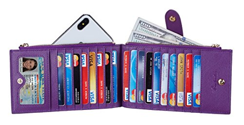 Travelambo Womens Walllet RFID Blocking Bifold Multi Card Case Wallet with Zipper Pocket (CH Purple Steel 5113) by Travelambo (Image #2)