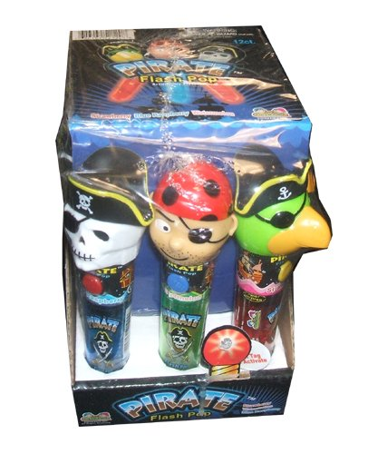 Kidsmania Pirate Flash Pops Novelty Lollipop Suckers 12 Count Box ()