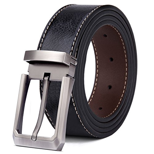 "Tonly Monders Men's Belt Leather Reversible Black Brown (Waist 28""-37"", Buckle A - Plating)"