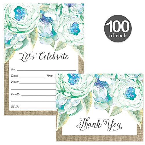 All Occasion Invitations ( 100 ) & Matched Thank You Cards ( 100 ) Set with Envelopes Blue Flowers Birthday Party Office Retirement Large Event Fill-in Invites & Folded Thank You Notes Best Value Pair by Digibuddha