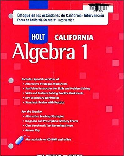 Holt Algebra 1 California Enfoque En Los Estandares De California
