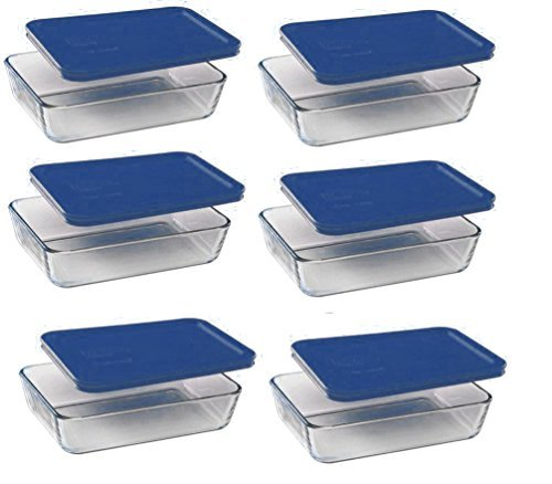 pyrex-3-cup-rectangle-glass-food-storage-set-container-dark-blue-plastic-cover-pack-of-6-containers