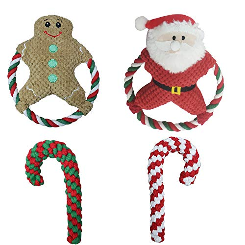 SONNIG Chrismas Stuffed Animal Plush Toy,4 Pack Squeaky Toys for Dog on Chrismas Day,Natural Durable Chewing Ropes.