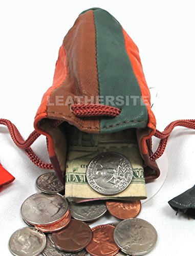 2pc Lot Soft Lambskin Leather Coin Bags Drawstring Closure Multi Color $6.99