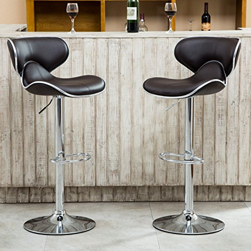 Roundhill Furniture Masaccio Cushioned Leatherette Upholstery Airlift Adjustable Swivel Barstool with Chrome Base, Set of 2, Brown (Base Bar)