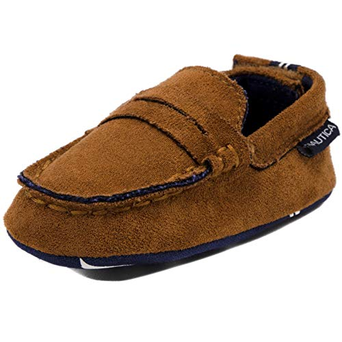 Nautica Tiny Pryson, Baby Prewalker, Slip-On Crib Penny Loafer, Toddler/Infant Soft Sole Shoes Tan-2