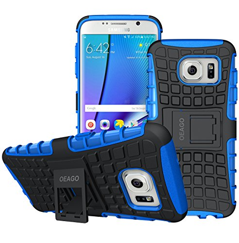 Rugged Edges (Galaxy S7 Edge Case, OEAGO Samsung Galaxy S7 Edge Cover Accessories - Tough Rugged Dual Layer Protective Case with Kickstand for Samsung Galaxy S7 Edge - Blue)