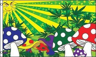51XRw6st5PL Mushroom Marijuana Flag 3x5 feet Polyester with 2 grommets