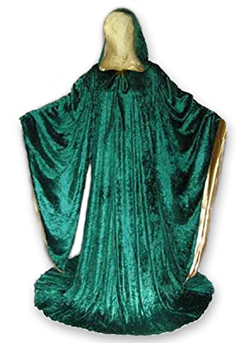 [Velvet Cosplay Wizard Robe with Satin lined Hood and Sleeves] (Harry Potter Dementor Fancy Dress Costume)