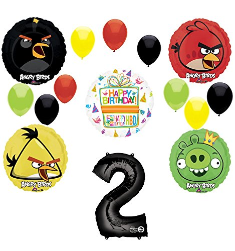 Angry Birds Party Supplies 2nd Birthday Balloon Bouquet Decorations ()