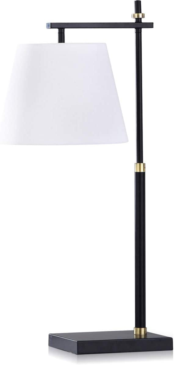 Waterbury Black Steel Task Desk Lamp with Gold Accents