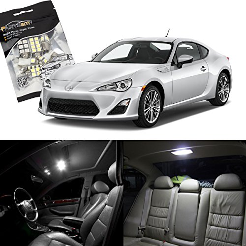 Partsam Scion FRS 2013 2014 2015 2016 White Interior LED Package Kit + License Plate Lights (6 Pieces)