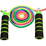 Anna's Rainbow Rope Kids Jump Rope Durable Child Friendly Skipping Rope - Exercise Toy for Playground with Lightweight Foam Handles and Vibrant Colors