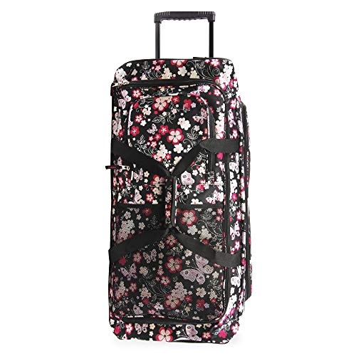 """Pacific Coast Signature Women's 32"""" Large Rolling Duffel Bag, Dark Butterfly One Size"""