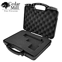 Cedar Mill Firearms Pick and Pluck Foam Hard Lockable Waterproof Pistol Gun Case for Carrying Handguns & Revolvers Airline TSA Approved Flight Travel Safe Fits Glock Smith & Wesson S&W Ruger Colt Sig