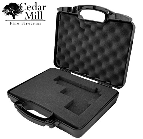 Cedar Mill Firearms Pick and Pluck Foam Hard Lockable Waterproof Pistol Gun Case for Carrying Handguns & Revolvers Airline TSA Approved Flight Travel Safe Fits Glock Smith & Wesson 9mm pistols/handgun