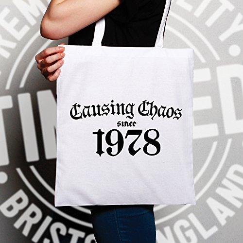 Shopping Bag Chaos 1978 Birthday Since Natural Tote 40th Causing qRtEx