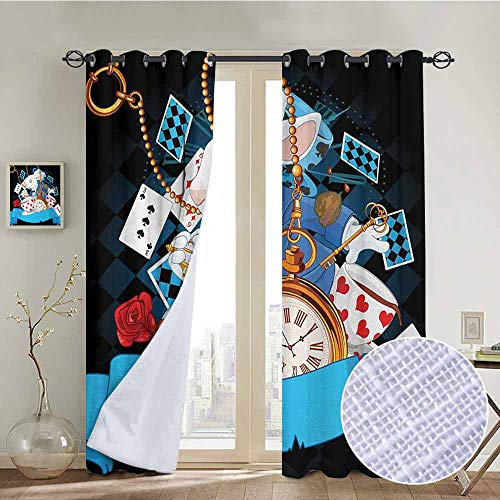 NUOMANAN Curtains for Bedroom Alice in Wonderland,Rabbit Motion Cups Hearts and Flower Character Alice Cartoon Style,Multicolor Curtain Panels for Bedroom & Kitchen,1 Pair 100