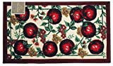 Kashi Home Red Apple Series Kitchen Rug 18'' X 30'' Rectangle Kitchen Mat Latex Back