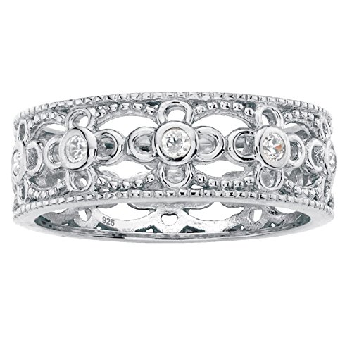 .925 Sterling Silver Round Bezel-Set White Cubic Zirconia Filigree Ring Size ()