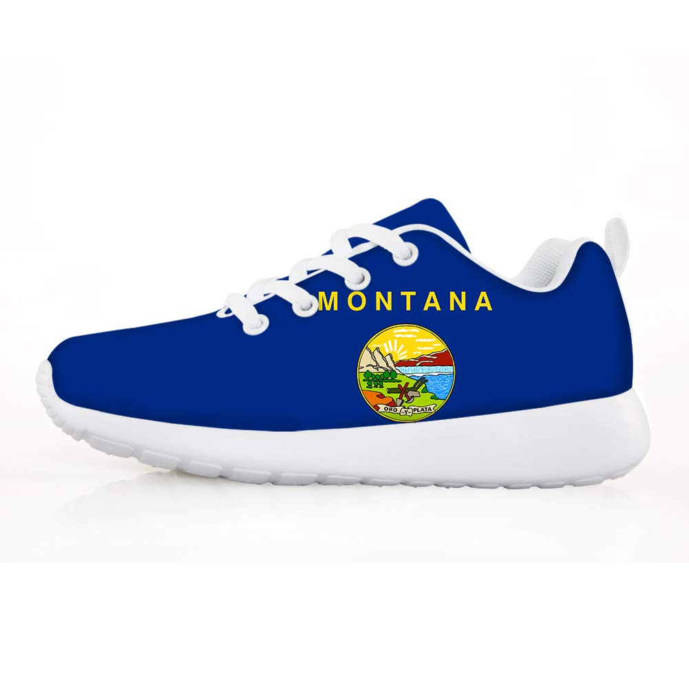 Owaheson Boys Girls Casual Lace-up Sneakers Running Shoes Montana Flag