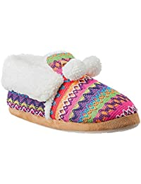 multicolored Aztec Weave Bootie Slipper With Fleece Cuff