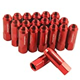 Generic New Red 20PCS Extended Forged Aluminum Tuner Racing Lug Nut For Mustang 1/2-20