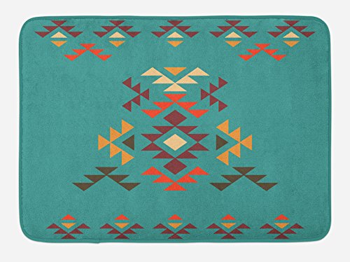 Lunarable Aztec Bath Mat, Colorful Geometric Shapes on Teal Backdrop Cheerful Tribal Design Ethnic Culture, Plush Bathroom Decor Mat with Non Slip Backing, 29.5 W X 17.5 W Inches, Teal Multicolor