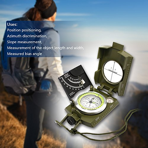 Army Compass, Multifunction Sighting Clinometer Measurable Slope Geology Mapping Compass for Camping Hunting Hiking by umsky