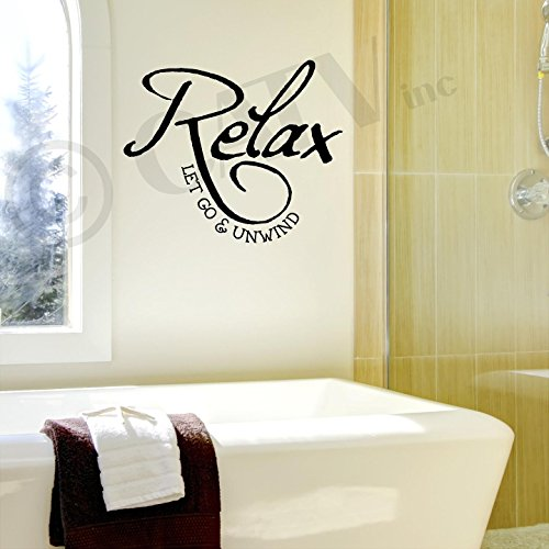 Relax Let Go and Unwind Vinyl Lettering Wall Decal Sticker