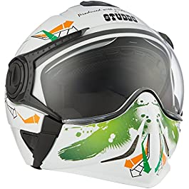 Studds DOWNTOWN D2 Flip Off Full Face Helmet (White and Orange, M)