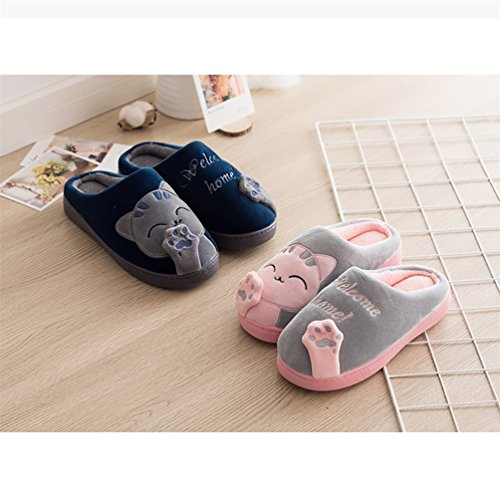 home Dark Shoes bismarckbeer Cute Printed Men Women Floor Cat Slippers Winter welcome Indoor Blue Warm pSpqPTwd