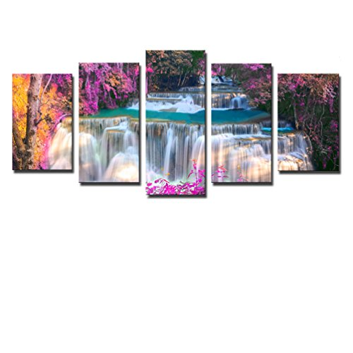 Noah Art-Modern Forest Art Canvas Printing, Spring River Stream Photo Artwork Landscapes Paintings Waterfall Poster Prints on Canvas, Ready to Hang Large 5 Panel Framed Living Room Wall (Master 5 Piece Place Setting)
