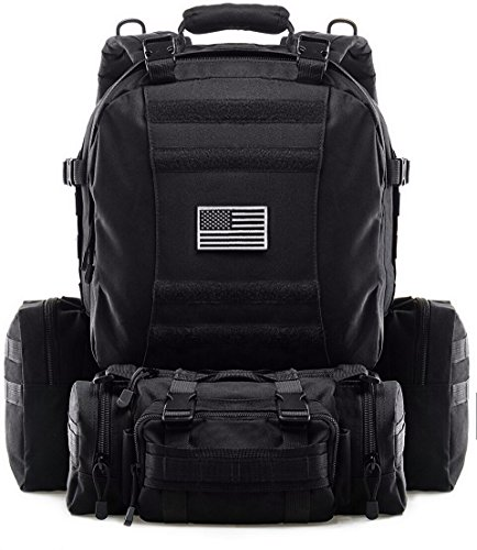 Tactical Backpack Military Outdoor 3-day Assault Pack 50L Survival Rucksack 1000D Army Molle Bug Out Bag Perfect for Hiking Trekking Travelling and Hunting