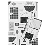 Pointillism Cooking Steam Whisk Black and White Spatula Kitchen Tea Towels Dotted Dinner by Katerhees Set of 2 Linen Cotton Tea Towels