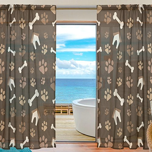 SEULIFE Window Sheer Curtain, Animal Dog Paw Prints Bones House Voile Curtain Drapes for Door Kitchen Living Room Bedroom 55x84 inches 2 Panels